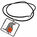 3dRose All Smiles Art Sports and Hobbies - Funny Cute Blind Mole Playing Basketball Cartoon - Necklace with Rectangle Pendant (ncl_263797_1)