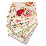 Hanjunzhao Vintage Rose Floral Plaid Fat Quarters Fabric Bundles for Quilting Sewing Crafting,18 x 22 inches