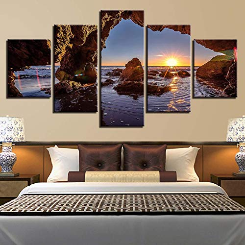 LPHMMD 5 canvas paintings Modern HD Printed On Canvas Home Decor 5 Pieces Sun Shines On Water Painting Pictures Living Room Wall Art -30x50cm 30x70cm 30x80cm