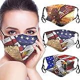 3 Pcs Patriotic American Flag Bald Eagle Fashion Breathable Face Mask With Filter Pocket Washable Face Bandanas Balaclava Reusable Fabric Masks For Men And Women