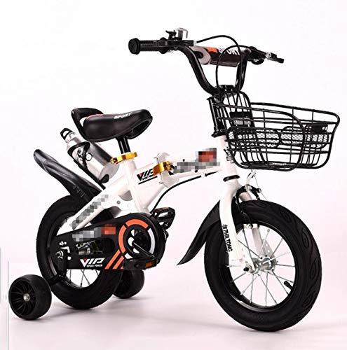 LIUXR Bicicletas Infantiles niña niño 2-8 años Freestyle 12 14 16 18 Pulgadas Ruedas auxiliares Bicicleta para niños,White_12inch