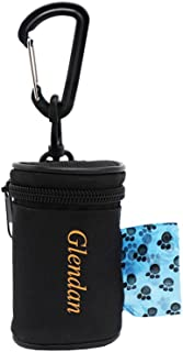 Glendan Dog Poop Bag Holder Leash Attachment,Waste Bag Dispenser - Fits Any Dogs Lead - Includes Free 1 Roll of Dog Bags