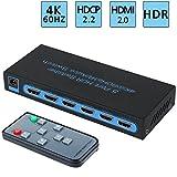 4K@60Hz HDMI Switch 5x1,FiveHome 5 Port HDMI Switcher IR Wireless Remote Support Auto