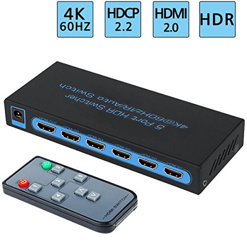 FiveHome 4K@60Hz commutatore HDMI Switch 5x1 sostiene 1080P,Full HD/3D,HDCP 2.2