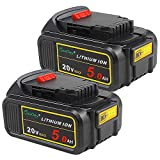 2 Pack Waitley DCB205-2 20V 5.0Ah Replacement Battery Compatible with Dewalt Max XR DCB200 DCB205 DCB203 DCB204 DCD780 DCD785 DCD795 DCF885 DCF895 DCS380 DCS391 Li-ion Battery Tools