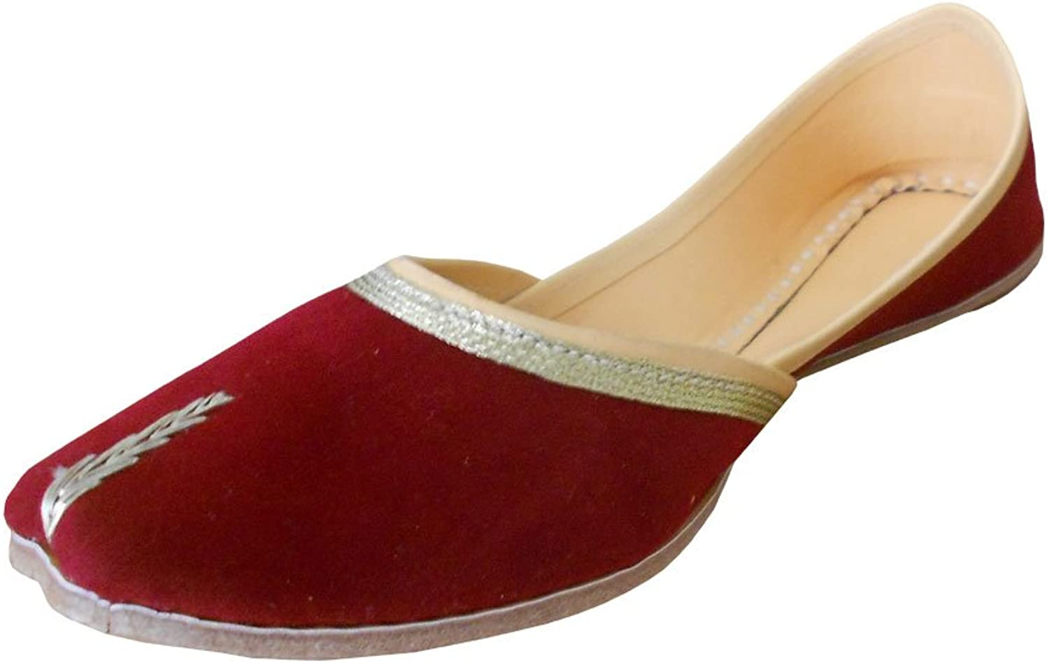 Kalra Creations Women's Traditional Indian shoes Velvet Ethnic Flats