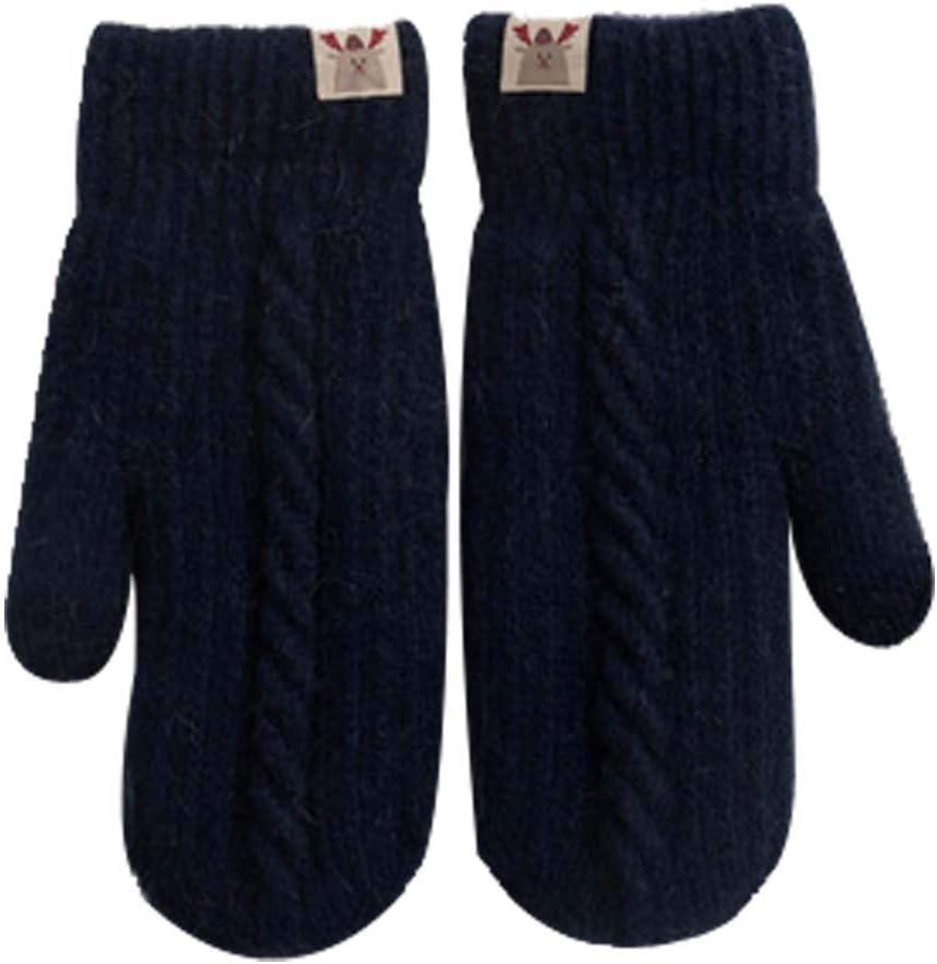 Panda Legends Lovely Velvet Warm Winter Gloves Woolen Gloves Lanyard Gloves [Navy]