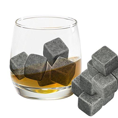 Grenhaven 9er Set Whisky-Steine Grau aus natürlichem Speckstein- on The Rocks Kühlsteine mit praktischen Stoffbeutel