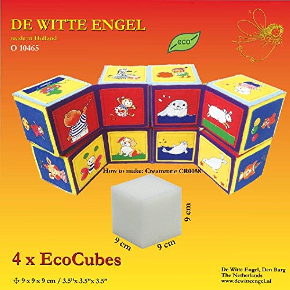 De Witte Engel Soft Eco Foam Cube, 9 x 9 x 9 cm, 4 Pieces, White