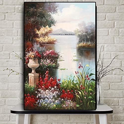 Geiqianjiumai Abstraktes Gartenlandschaftsölgemälde skandinavisches Plakat und Druck auf Leinwand Wandbild rahmenloses Gemälde 20X30CM