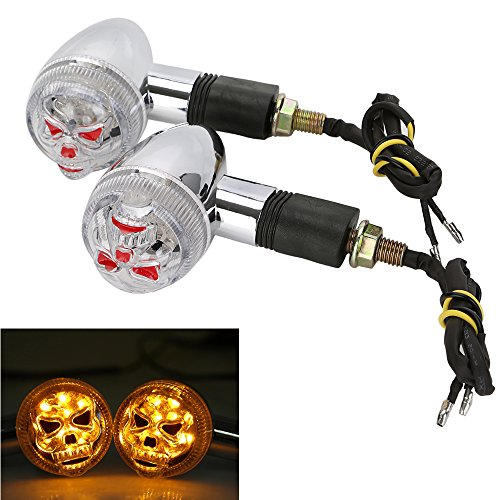 OSAN Motorcycle Chrome 3D Skull Skeleton LED Turn Signal Indicator Light Custom Parts