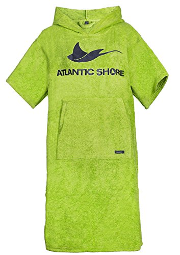 Atlantic Shore | Surf Poncho ➤ Bademantel/Umziehhilfe aus hochwertiger Baumwolle ➤ Green - Long