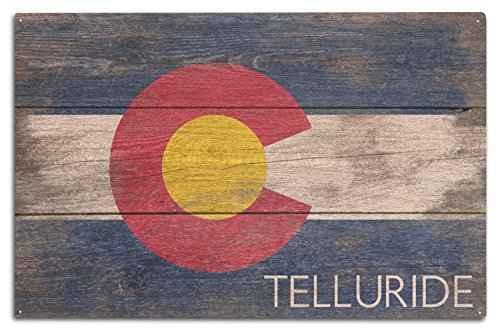 Lantern Press Telluride - Rustic Colorado State Flag (10x15 Wood Wall Sign, Wall Decor Ready to Hang)
