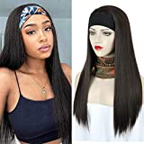 AICILY Headband Wigs for Black Women None Lace Front Wigs Straight Synthetic Hair Scarf Wigs (22 inch 2#)