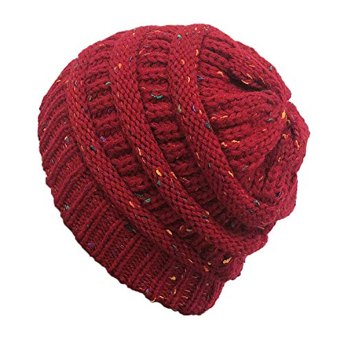 Gepunktete Strickmütze Im Freien Warme Wollmütze 20 * 20Cm Garn Rot