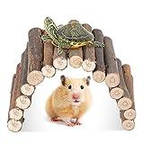 YOUTHINK Hámster Puente Flexible Escalera de Madera Natural Escondite Casa para Reptiles Ratones Ratas Roedores Animal Pequeño Juguete para Masticar
