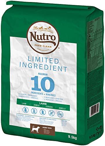 NUTRO Hundefutter Trockenfutter Limited Ingredient Adult 1+ Mit Lamm, 1 Beutel (1 x 9.5kg)