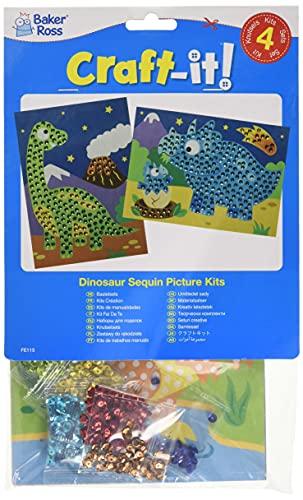 Baker Ross FE115 Kits Arte de Lentejuelas Dinosaurio - Paquete de 4, haz tu propio juego de arte para niños, actividades creativas para niños, decora tu propio proyecto de manualidades y artes