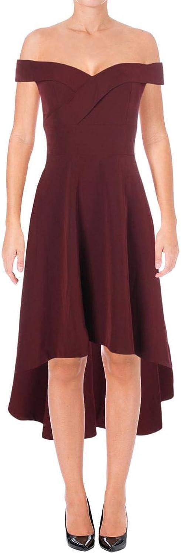 Aidan Mattox Aidan Womens OffTheShoulder HiLow Party Dress