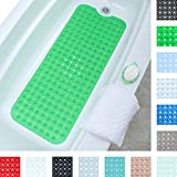"SlipX Solutions Green Extra Long Bath Mat Adds Non-Slip Traction to Tubs & Showers - 30% Longer Than Standard Mats! (200 Suction Cups, 39"" Long Bathtub Mat)"