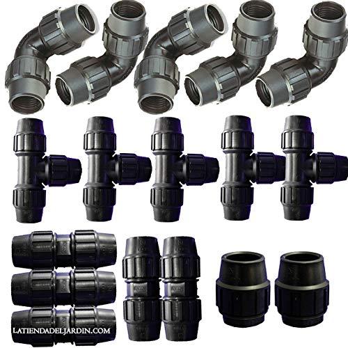 Suinga - Pack RIEGO TUBERIA 32MM: 5 te + 5 codo + 5 enlace + 2 tapón. Color negro Fitting de Polietileno para tubo agricola y alimentario