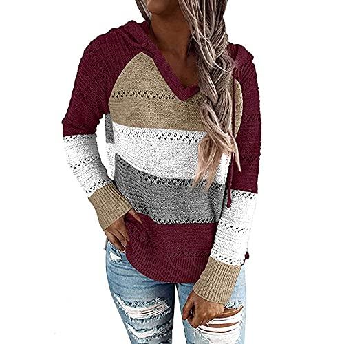 ZYSK Mujer Sudadera Cuello en V Empalme Bloque de Color Suéter Larga con Capucha Tejido de Punto Suéter Jersey Hoodie Sudadera Mujer Jersey con Capucha Mujer Sudaderas con Capucha Mujer Sweatshirt