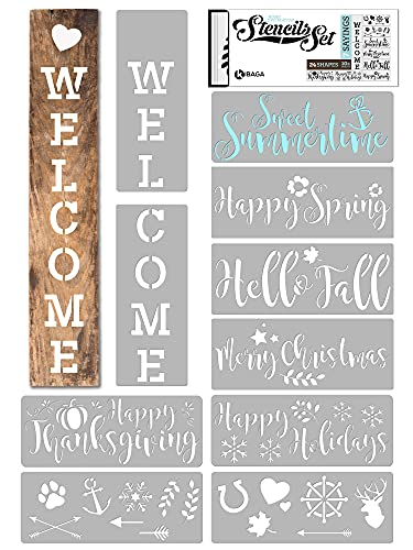 KIBAGA Reusable Seasonal Stencils for Painting on Wood and More - Easy Paint Welcome Sign Stencil for Front Door, Porch or Outside Decor - Perfect Spring, Summer and Christmas Decor for Your Home