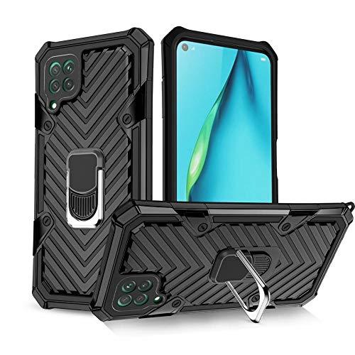 COOVY Funda para Huawei P40 Lite/Nova 6 SE/Nova 7i Funda PC + Silicona TPU Extra Fuerte, antigolpes, función Atril, Anillo de Soporte + Soporte magnético Compatible | Negro