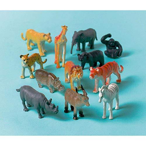 Amscan INT390316 - Deko-Dschungeltiere, 12 Stück, Plastik, Mitgebsel, Kindergeburtstag
