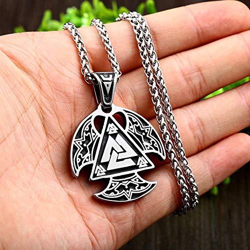 Colar Vikings unissex de aço inoxidável Valknut Runa Amuleto retrô com corrente de 61 cm