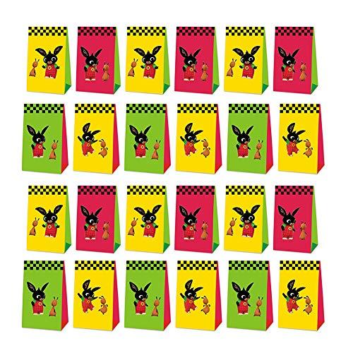 24 Pcs Bolsas de Papel Bing Bunny Party Bag Bolsas de Regalo Navidad, Bunny Bolsas de Papel Kraft navideño Bolsas para Chuches Bolsas Regalo Papel,Cajas de Regalo