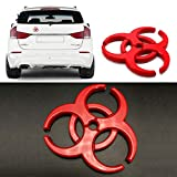 YSpring Resident Evil Biohazard Stickers Auto Metal Emblem Umbrella Corporation Multi-Layer Plated Zinc Alloy Decals The Strain 3D Car Sticker (Red-2.44' 2.44')