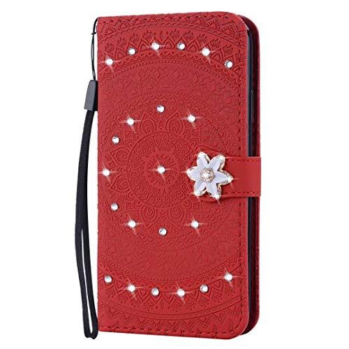 Nokia 3.4 Hülle, Glitzer-Glänzende PU Leder Wallet Handyhülle Bling Diamant Schnalle Sonnenblume Flip TPU Stoßfest Shell Slim Fit Schutzhülle Magnetisch Ständer Cover für Nokia 3.4 Rot