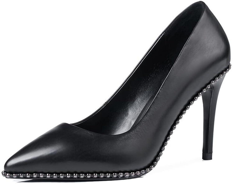 XUERUI Ms High Heels Stilettos Wedding Graduation Jobs Bridal shoes Waterproof Fashion Young Fit 9cm Heel (Size   EU38 UK5.5 CN38)