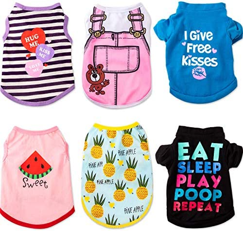 SATINIOR Pet Shirts Printed Puppy Shirt Summer Dog Cool Vest Cute Dog Clothing Cotton Dog Pullover product image