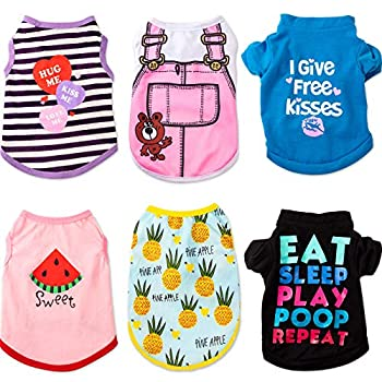 Pet Shirts Printed Puppy Shirts Dog Sweatshirt Cute Dog Clothing Cotton Dog Pullover Soft Shirt for Pet Dog Apparel Christmas New Year  Pineapple Word Strap Stripe Watermelon S
