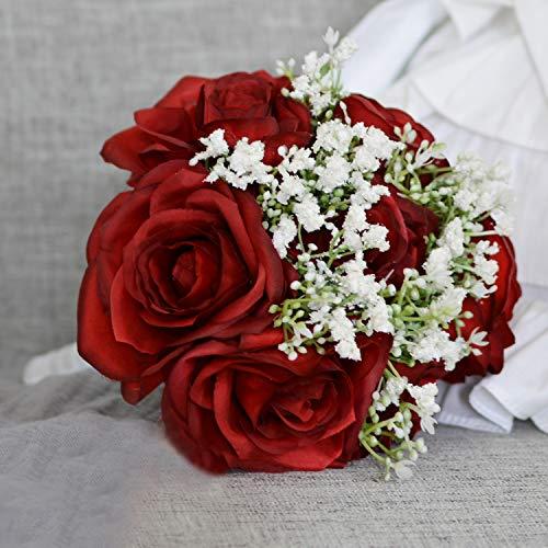 7 Stems Artificial Rose Hydrangea Mixed Bouquet Silk Flower for Wedding Bridal Bouquet Home Office Decor (Red)