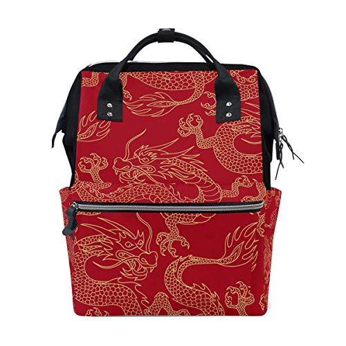 Rugzak China Myth Gouden Draak Rode Tote Grote Capaciteit Baby Tas, Multi-Functie Reizen Rugzak Nappy Tassen, Verpleegzak, Reizen School Jongen Meisje