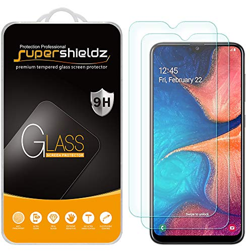 (2 Pack) Supershieldz for Samsung Galaxy A20 Tempered Glass Screen Protector, Anti Scratch, Bubble Free