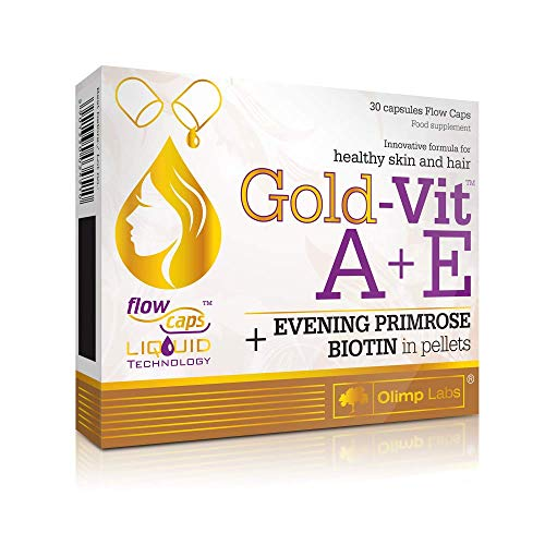 Olimp Gold VIT A + E Biotin Evening Primrose Oil Vitamin for Healthy Skin and Strong Hair 30 Flow Liquid Capsules