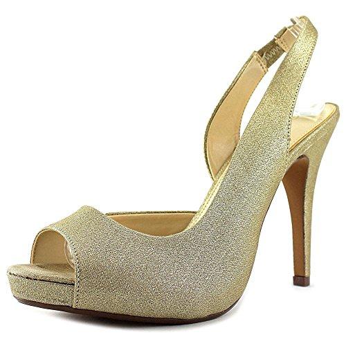 Lulu Townsend Nicola Women US 10 Gold Peep Toe Slingback Heel
