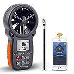 BTMETER BT-100APP Anemometer w/Wireless Bluetooth, Digital Handheld Wind Speed Meter for Wind Chill, Air Velocity, Temperature, Vane Anemometer Gauge