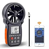 BTMETER BT-100APP Anemometer w/Wireless Bluetooth, Digital Handheld Wind Speed Meter for Wind Chill, Air Velocity, Temperature, Vane Anemometer Gauge