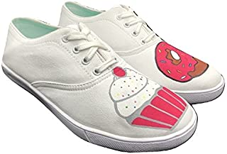 FUNKY N TRENDY Donut Theme White Hand Painted Waterproof Casual Canvas Shoes