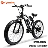 Cyrusher XF660 26inch Snow Beach Fat Tire e Bike 1000W Motor 48v 13ah Battery Electric Mountain Bike 7 Speeds Shifting System with Disc Brakes and Suspension Fork Removable Lithium Battery(Black)