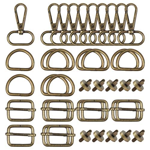 HONMOK 40 Stück Drehgelenk Karabinerhaken D-Ringen Schiebeschnalle Hummer Haken Triglide Karabiner Schwenker Schlüsselring Gurtversteller Magnetknopf für Lanyard DIY Schmuck Zubehör