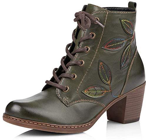 Remonte Damen Stiefeletten R4670, Frauen Schnürstiefelette, Stiefel Chukka Boot halbstiefel schnürboots Bootie Damen,Leaf/Leaf / 54,41 EU / 7.5 UK