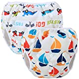 Teamoy Wiederverwendbare Schwimmwindel Baby, Baby Badehose Jungen, Baby Schwimmhosen, Stoff Schwimmwindeln Kinder (Neat Sailboat + Racing Car)