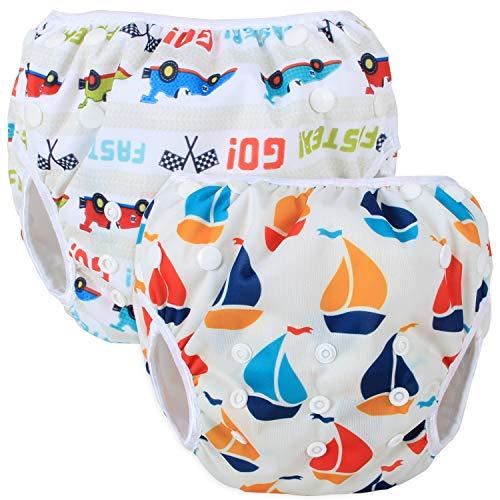Teamoy Schwimmwindel Baby, Schwimmhose Baby Wiederverwendbar, Baby Badehose Jungen, Baby Verstellbar Badeanzug für 0-3 Jahre Baby (Neat Sailboat + Racing Car)