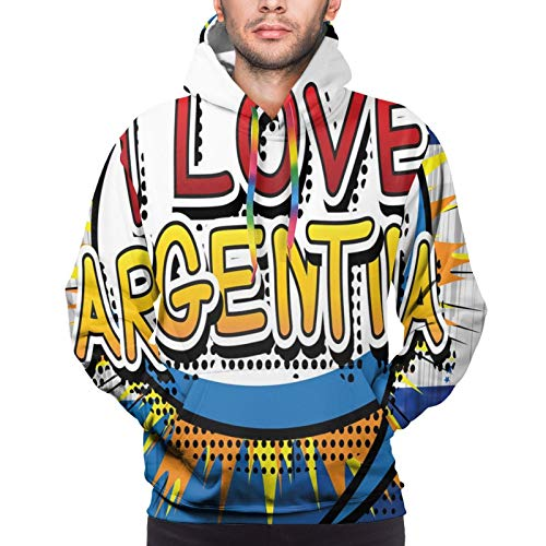 Men's Hoodies Sweatshirts,Comic Book Style Pop Art Dotted Design I Love Argentina Phrase On Beamed Figure,X-Large